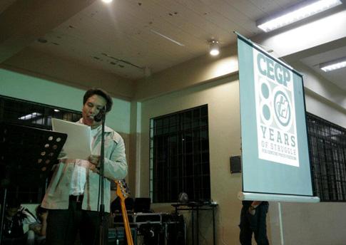 Si Kenneth Guda, nagbasa ng keynote speech sa CEGP Alumni Homecoming. (Pher Pasion)