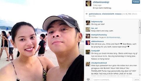 Nagpaskil ng larawan sina Neri Naig at Chito Miranda sa Twitter account ni Chito matapos ang pagkalat ng naturang sex video